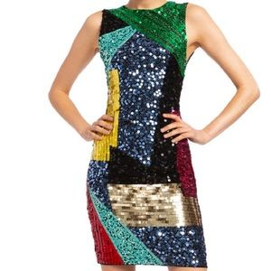 Alice + Olivia Sequin Embellished Cocktail Dress